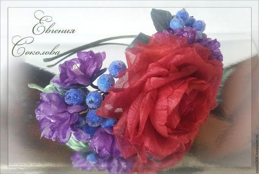 Диадемы, обручи ручной работы. Ярмарка Мастеров - ручная работа. Купить Ободок с цветами из шёлка. Handmade. Разноцветный, ободок с цветами