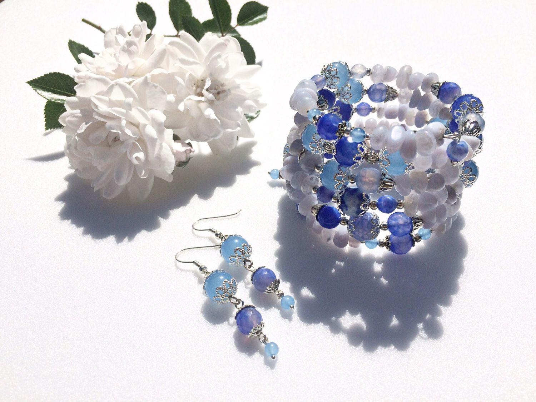 Bracelet 'heavenly surface' of blue agate and chalcedony, Bead bracelet, Tolyatti,  Фото №1
