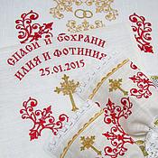 Свадебный салон handmade. Livemaster - original item Set for wedding (red and gold embroidery). sku: 0222. Handmade.