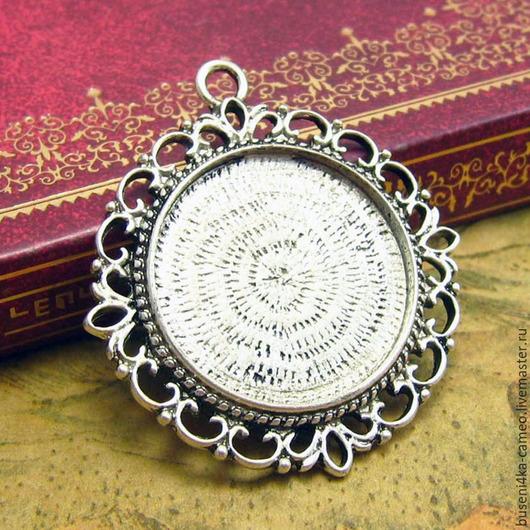 Для украшений ручной работы. Ярмарка Мастеров - ручная работа. Купить Оправа Серебристое кружево 25мм, античное серебро (1шт). Handmade.