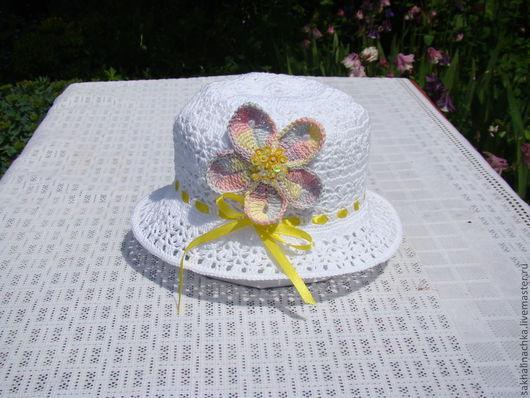 Шапки и шарфы ручной работы. Ярмарка Мастеров - ручная работа. Купить шляпка 14. Handmade. Белый, шляпка с цветами, хлопок