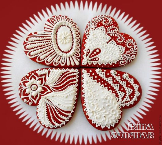 """Кулинарные сувениры ручной работы. Ярмарка Мастеров - ручная работа. Купить Пряники """"Белое на красном..."""". Handmade. Ярко-красный"""