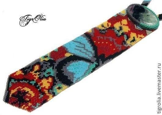 """Галстуки, бабочки ручной работы. Ярмарка Мастеров - ручная работа. Купить Галстук """"Осенняя бабочка"""". Handmade. Красный, галстук, бисер"""