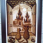 """Картины ручной работы. Ярмарка Мастеров - ручная работа Картина вышитая  крестом """"Пражские коты"""". Handmade."""