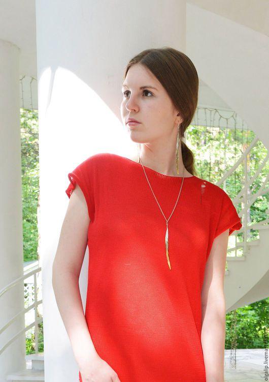Платья ручной работы. Ярмарка Мастеров - ручная работа. Купить Платье красное со спущенными петлями. Handmade. Ярко-красный