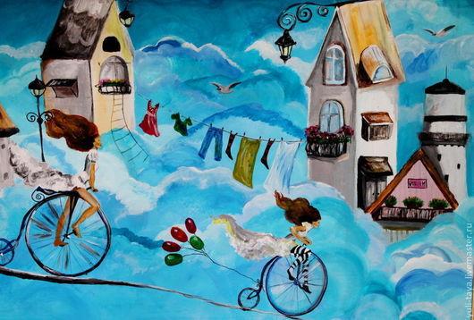 Фантазийные сюжеты ручной работы. Ярмарка Мастеров - ручная работа. Купить Картина  В облаках большая. Handmade. Голубой