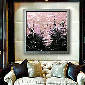 Картины и панно handmade. Livemaster - original item The picture with the urban landscape in an abstract style Sweet salt of the Bosphorus. Handmade.