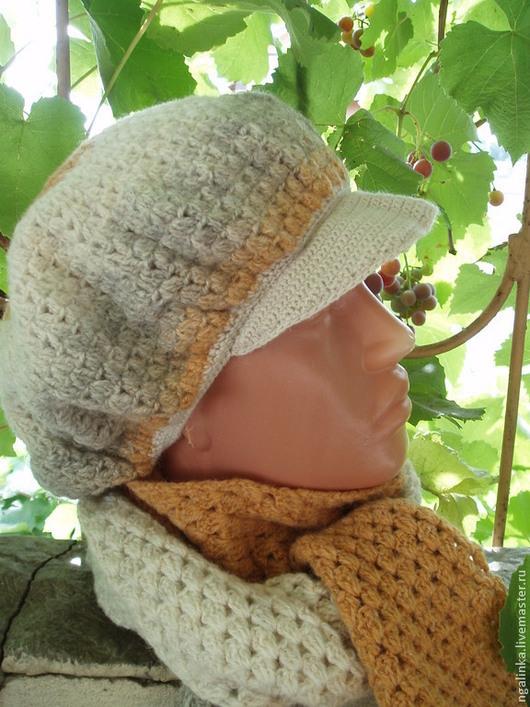 Комплекты аксессуаров ручной работы. Ярмарка Мастеров - ручная работа. Купить кепка и шарф из шерсти Осень. Handmade. В полоску