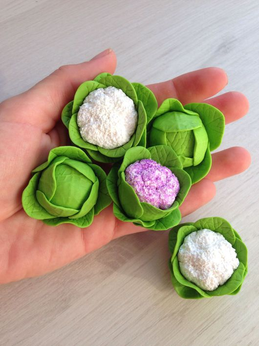 Еда ручной работы. Ярмарка Мастеров - ручная работа. Купить Капуста из полимерной глины. Handmade. Миниатюра, кукольная еда, развивайка