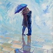 Картины и панно handmade. Livemaster - original item Oil painting on canvas with stretcher 35/50. Kiss under an umbrella.. Handmade.