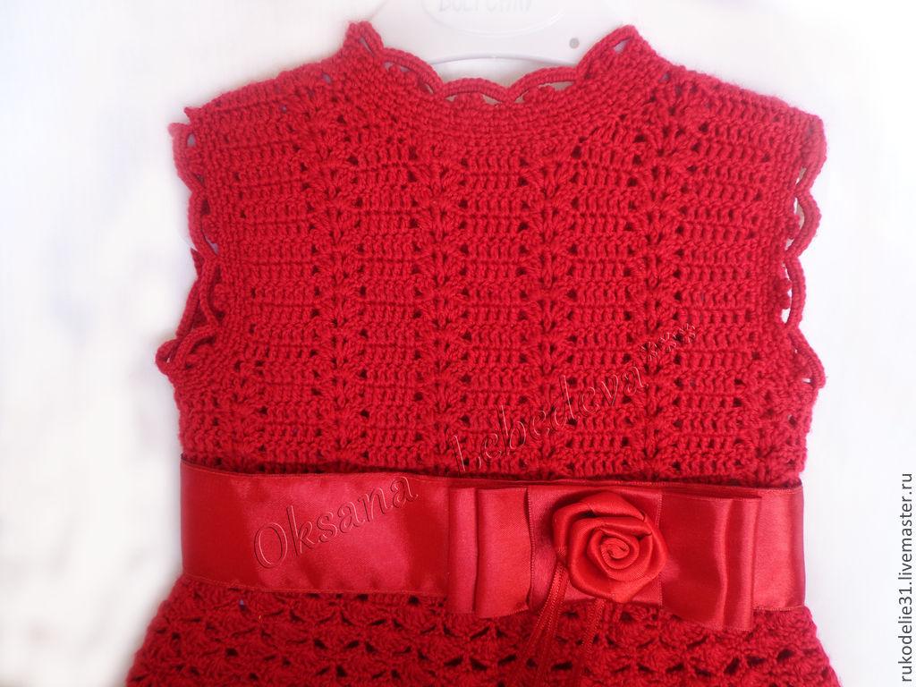 Теплое платье для девочки крючком