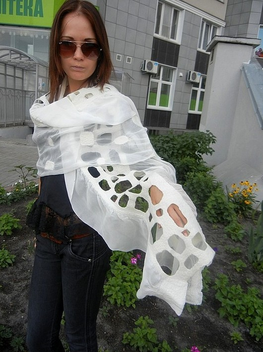 Shawls & Stoles handmade. Livemaster - handmade. Buy White stole.The author's work, silk stole