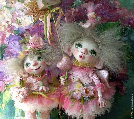 Коллекционные куклы ручной работы. Ярмарка Мастеров - ручная работа. Купить Куклы ангелы Весенние  из полимерной глины. Handmade. птичка