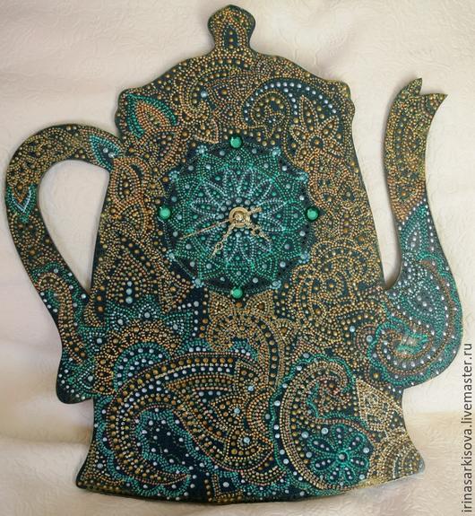 Часы для дома ручной работы. Ярмарка Мастеров - ручная работа. Купить Часы в виде чайника в восточном стиле. Handmade. Зеленый