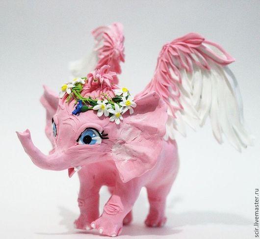"""Игрушки животные, ручной работы. Ярмарка Мастеров - ручная работа. Купить Фигурка """"Розовый слоник и ромашки"""" (розовый слон). Handmade."""