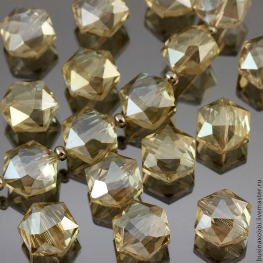 Бусины стеклянные граненые шестиугольной формы со специальной обработкой cristallized серого оттенка для сборки украшений