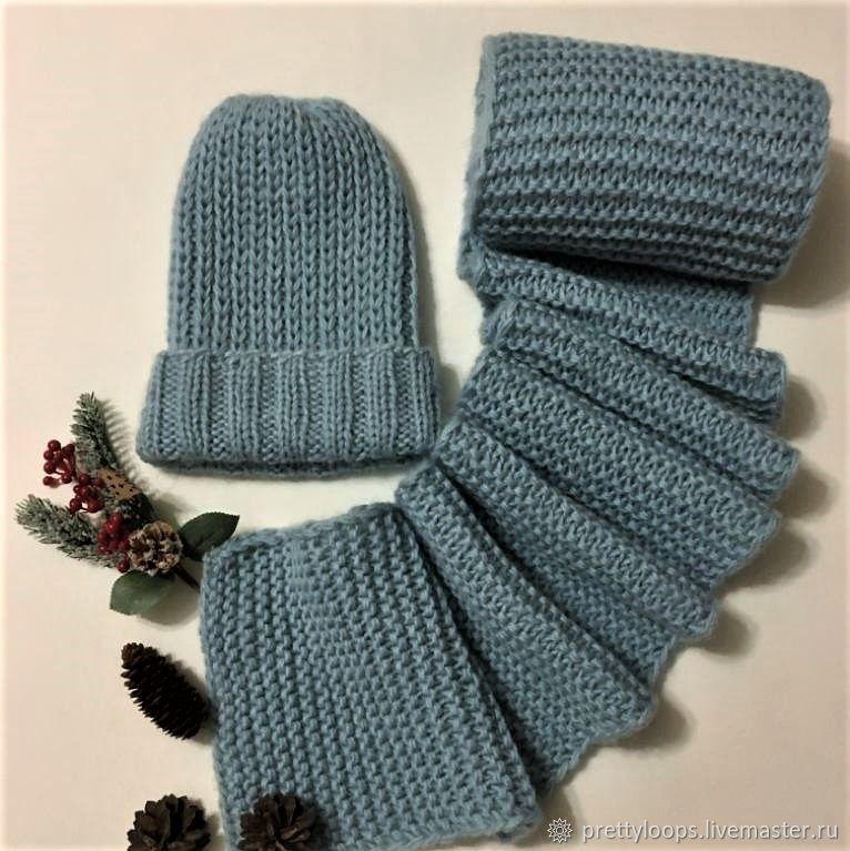 Hat scarf ' Winter Mint Color', Headwear Sets, Ekaterinburg,  Фото №1