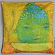 """Текстиль, ковры ручной работы. Ярмарка Мастеров - ручная работа. Купить наволочка """"покушали"""". Handmade. Ярко-зелёный, наволочка, лен"""