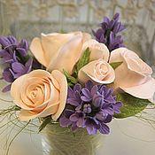 Цветы и флористика handmade. Livemaster - original item Bouquet of roses and lilac. Flowers polymer clay handmade.. Handmade.