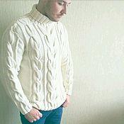 Одежда ручной работы. Ярмарка Мастеров - ручная работа Мужской белый свитер. Handmade.