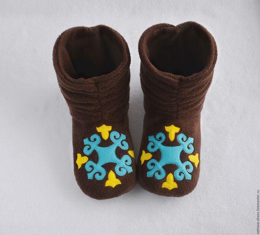 """Обувь ручной работы. Ярмарка Мастеров - ручная работа. Купить Домашние угги """"Баргузин"""". Handmade. Коричневый, сибирь, узоры"""