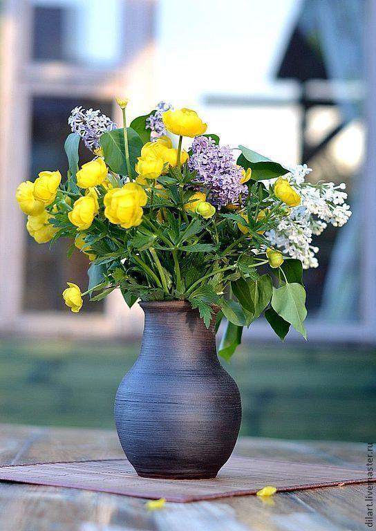 Крынка глиняная ваза для цветов Деревенская