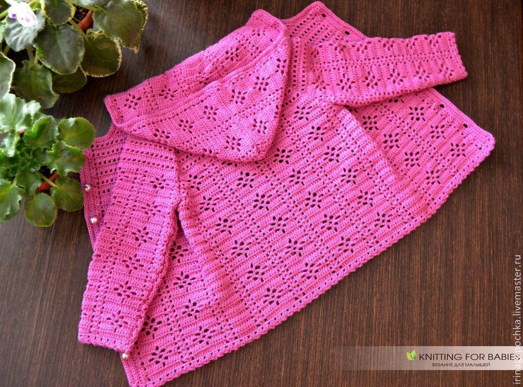 Вязание кофточки для девочек капюшоном