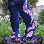 Обувь ручной работы. Ярмарка Мастеров - ручная работа летние сапоги с гипюром. Handmade.