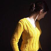 Одежда ручной работы. Ярмарка Мастеров - ручная работа Женский джемпер горчичного цвета, ручная вязка. Handmade.