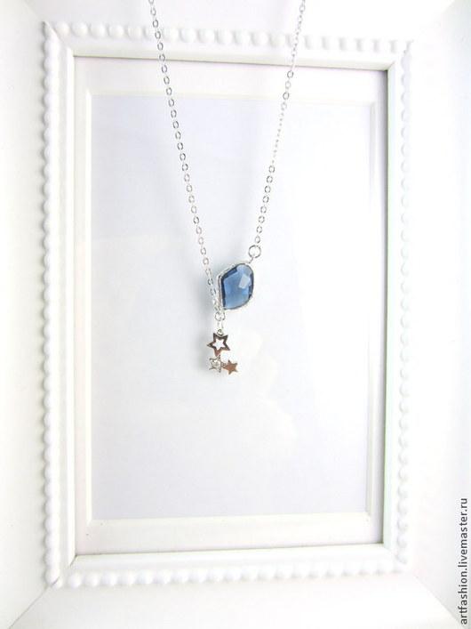 Кулон серебряный от Марии Гербст Галактика с фианитами. Кулон из серебра на цепочке Галактика. Серебряный кулон Галактика с инкрустацией фианитами.