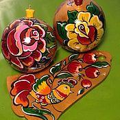 Русский стиль ручной работы. Ярмарка Мастеров - ручная работа Набор ёлочных игрушек с ручной росписью. Handmade.