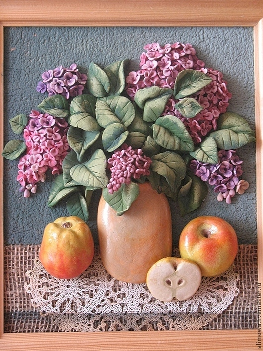 """Картины цветов ручной работы. Ярмарка Мастеров - ручная работа. Купить пано из керамического теста""""Сирень"""". Handmade. Сирень, панно, подарок"""