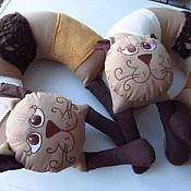 """Для дома и интерьера ручной работы. Ярмарка Мастеров - ручная работа Подушка для авто""""Кофейный кот"""". Handmade."""