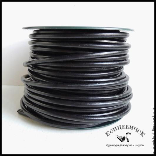 Для украшений ручной работы. Ярмарка Мастеров - ручная работа. Купить Кожа черная 5 мм Испания. Handmade. Черный