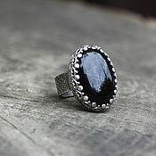 """кольцо """"Глубина чёрного"""", серебро, агат"""
