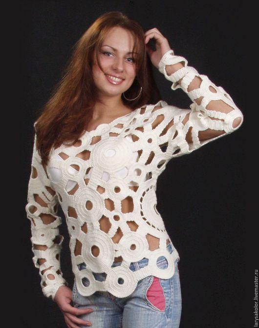 Белый Вязаный Пуловер Женский