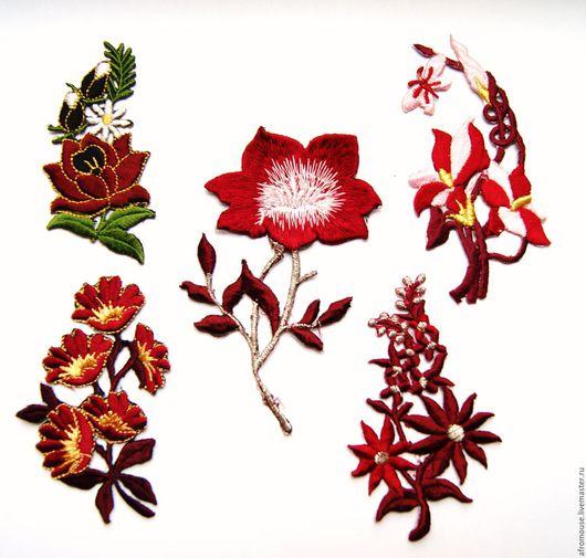 термоапликации `Бордовые цветы` вышивки