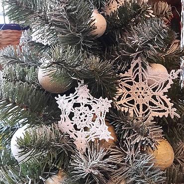 Сувениры и подарки. Ярмарка Мастеров - ручная работа Снежинки на елку, набор из 6шт. Handmade.