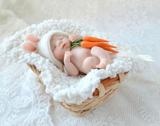 Коллекционные куклы ручной работы. Ярмарка Мастеров - ручная работа. Купить Зайчишка  ( 9 см). Handmade. Белый, нежность