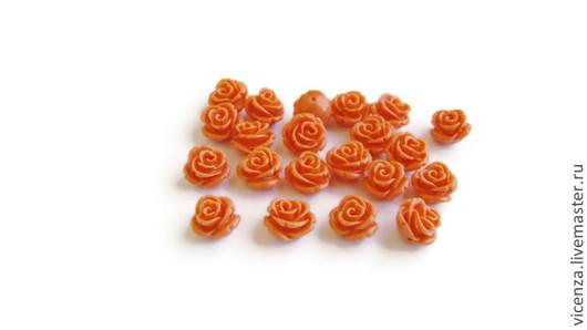 """Бусины """"розочки"""" прессованный коралл. Отверстие около 1 мм в поперечном направлении в основании цветка. Для украшений. Рукоделкино."""