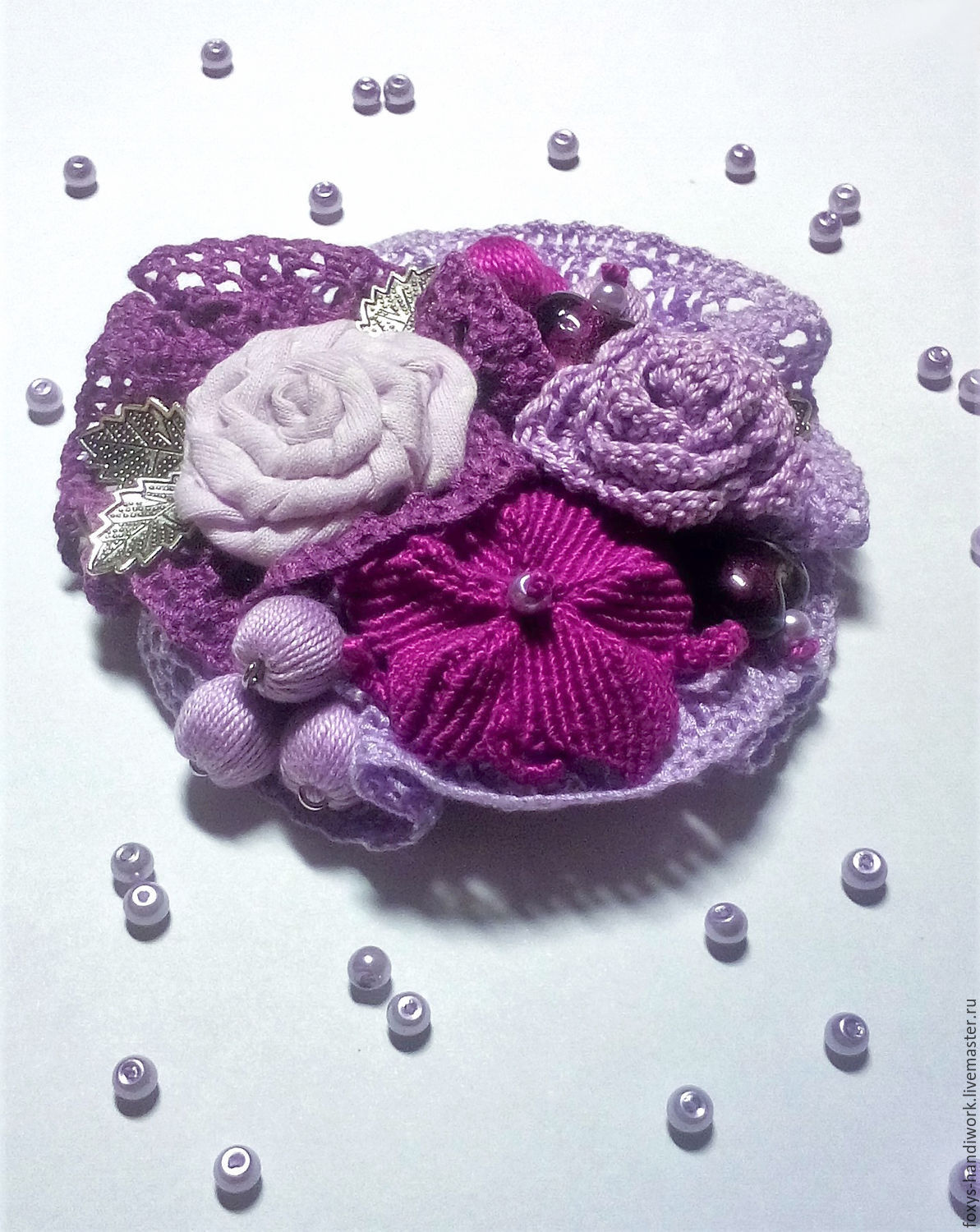 Boho brooch textile with flowers and lace-lilac/purple, Brooches, Tula, Фото №1