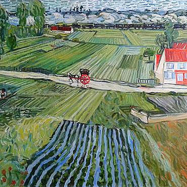 """Картины и панно ручной работы. Ярмарка Мастеров - ручная работа Картина маслом. копия. Ван Гог  """"дорога в овере после дождя"""". Handmade."""