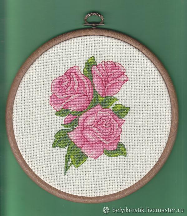 Букетик  роз.  Вышивка крестиком, Картины, Москва, Фото №1