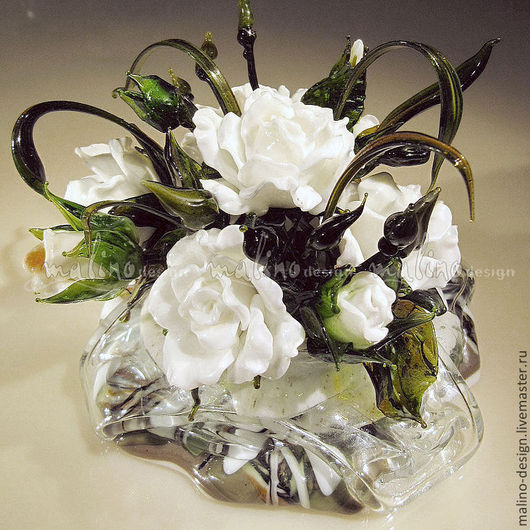 Букетик цветов для свадебного стола. Авторская работа. Lampwork. ArtStudio Malini-design.