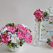 Цветы и флористика handmade. Livemaster - original item 20% off Interior bouquet of peonies photo frame. Handmade.