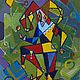 Абстракция ручной работы. Ярмарка Мастеров - ручная работа. Купить Шут. Handmade. Шут, шар, кубизм, ромб, бубенчики, подарок