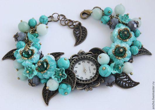 """Часы ручной работы. Ярмарка Мастеров - ручная работа. Купить Часы """"Бирюзовые цветы-2"""". Handmade. Бирюзовый, часы-браслет"""