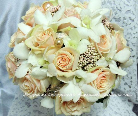 Свадебные цветы ручной работы. Ярмарка Мастеров - ручная работа. Купить Букет невесты. Handmade. Бежевый, оформление цветами