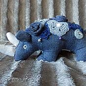 Мягкие игрушки ручной работы. Ярмарка Мастеров - ручная работа Синий носорог. Handmade.
