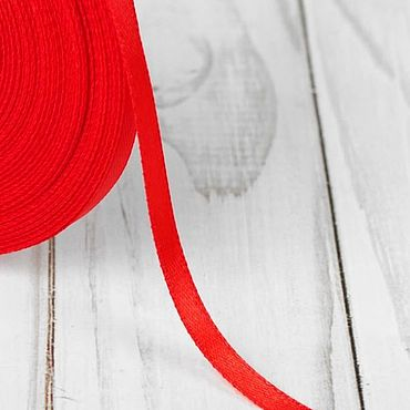 Материалы для творчества ручной работы. Ярмарка Мастеров - ручная работа Красная атласная лента, 10 мм, 3 метра. Handmade.
